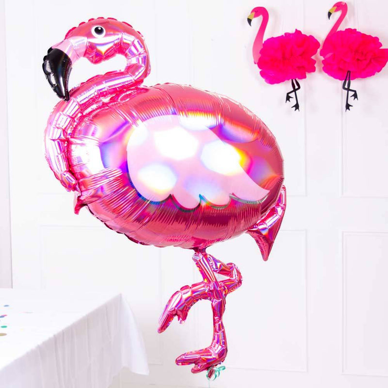 Iridescent Flamingo Supershape Foil Balloon