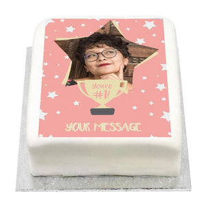 Personalised Photo Cake - You're Number 1 Pink