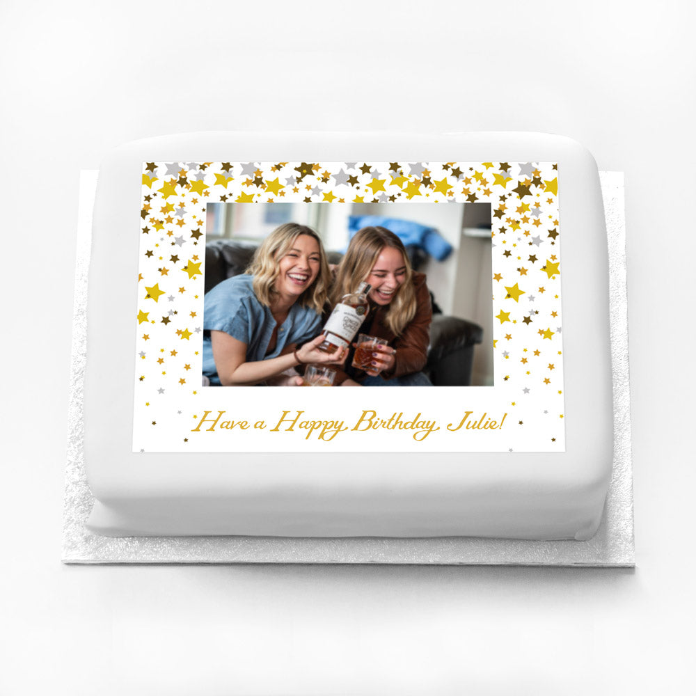 Personalised Photo Cake - Metallics Confetti