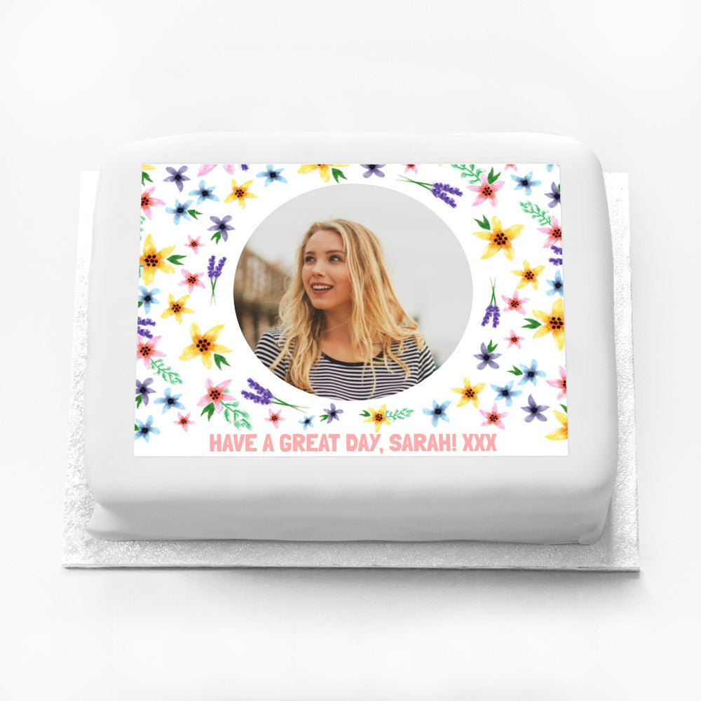 Personalised Photo Cake - Fancy Floral