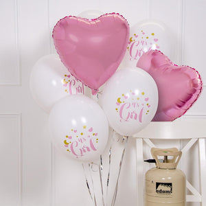 'It's a Girl' Helium Balloon Kit (Includes Helium, Weight & Ribbon!)
