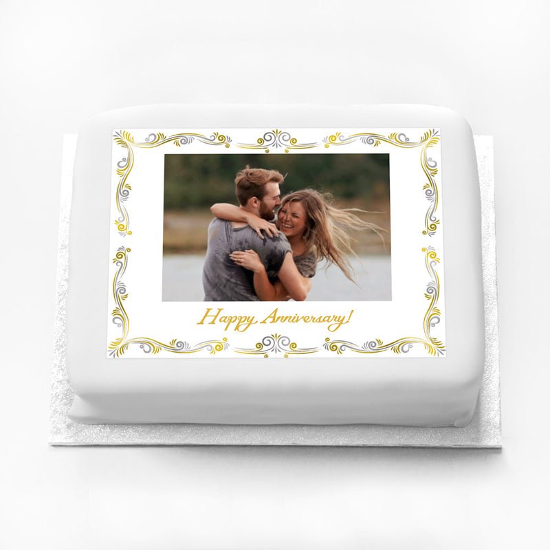 Personalised Photo Cake - Metallics Frame