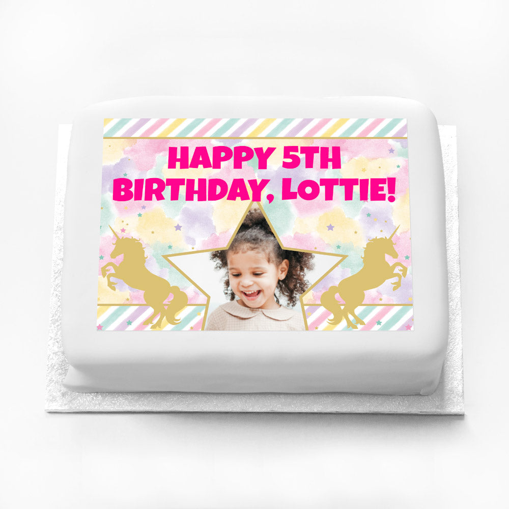 Personalised Photo Cake - Unicorn Sparkle