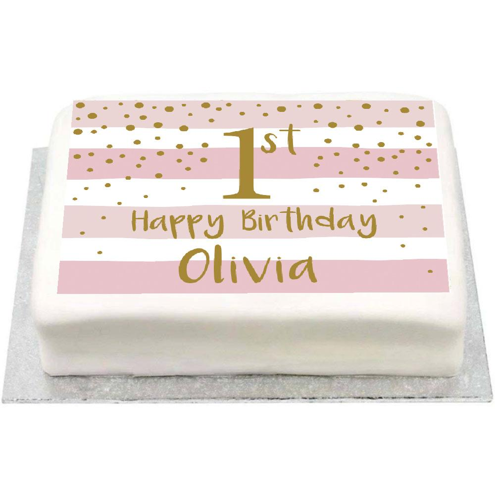 Personalised Photo Cake - Gold & Pink 1st Birthday Celebration