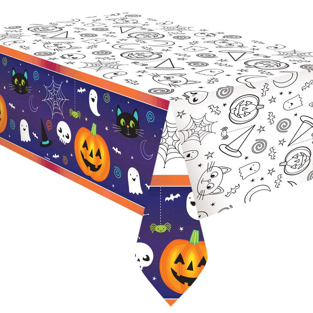 Cat & Pumpkin Paper Colouring in Table Cover