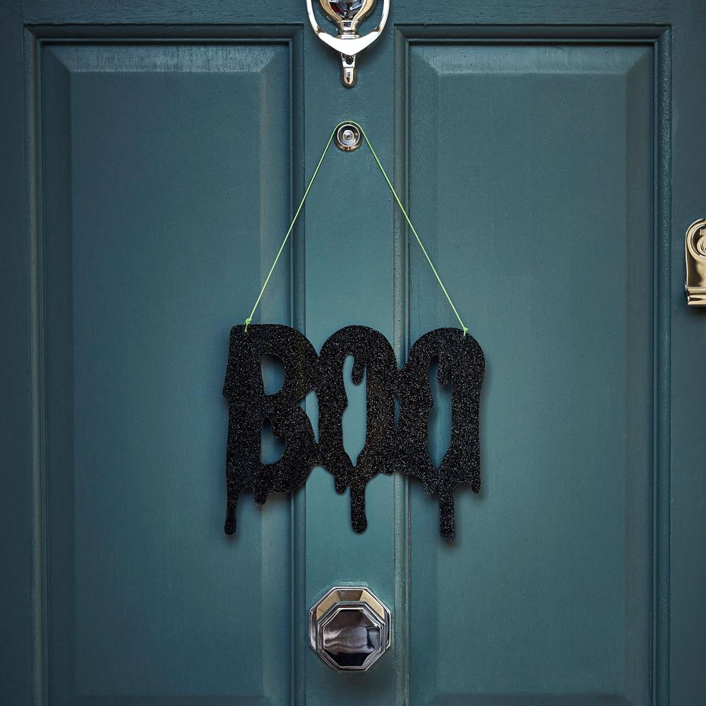 """Boo"" Black Glitter Sign"