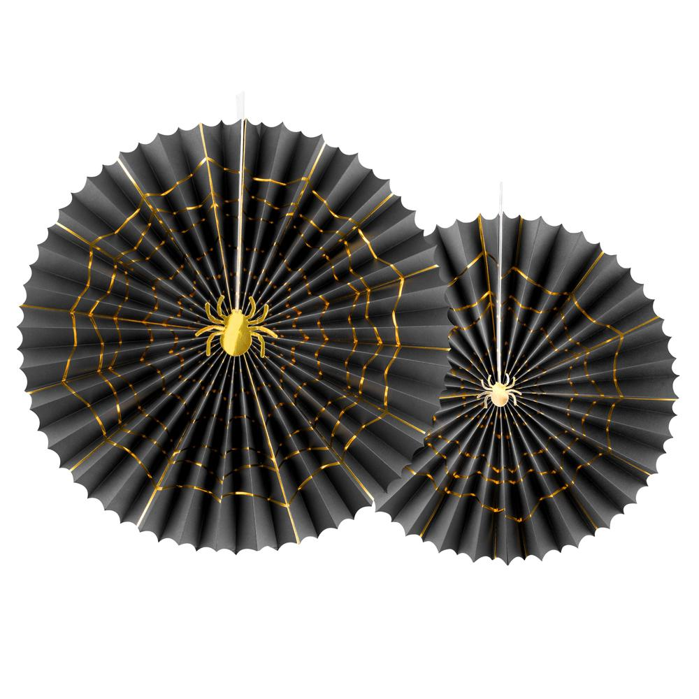 Black & Gold Spider Decorative Rosettes (x2)
