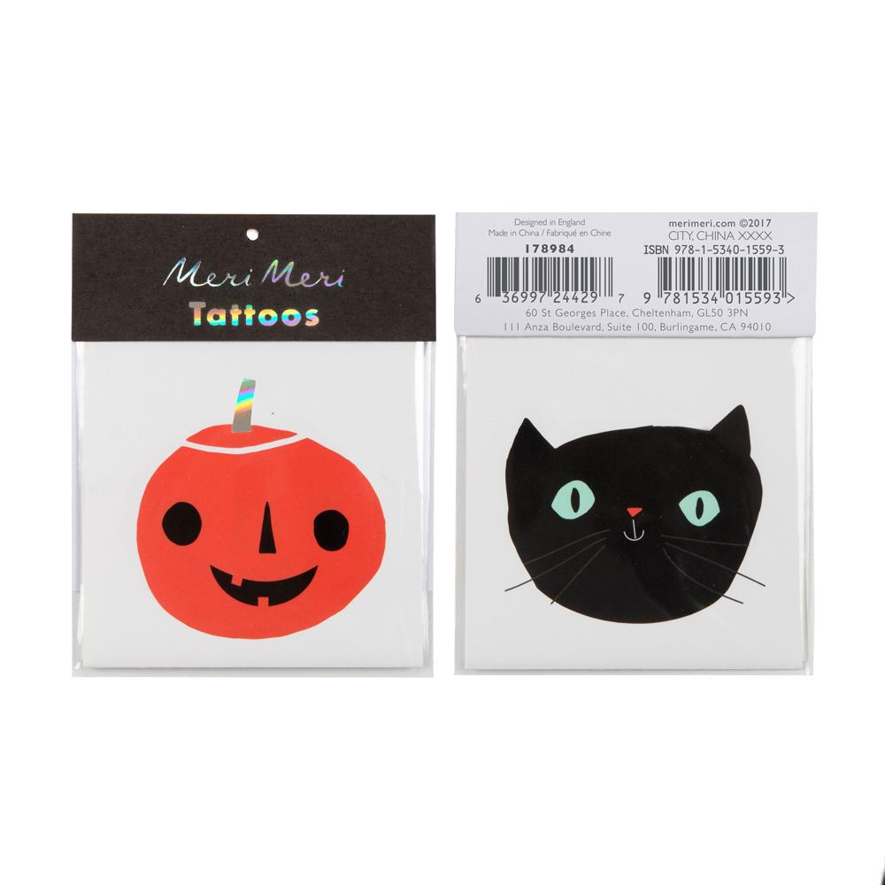 Temporary Pumpkin & Cat Halloween Tattoos (x2)