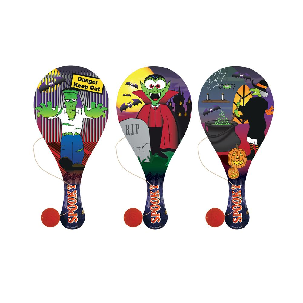 Wooden Halloween Paddle Bat & Ball Game (x3)