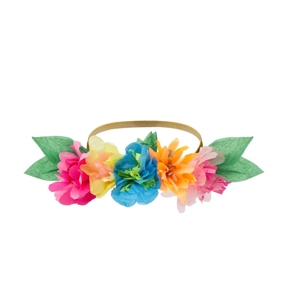 Bright Floral Blossom Party Crowns (x6)