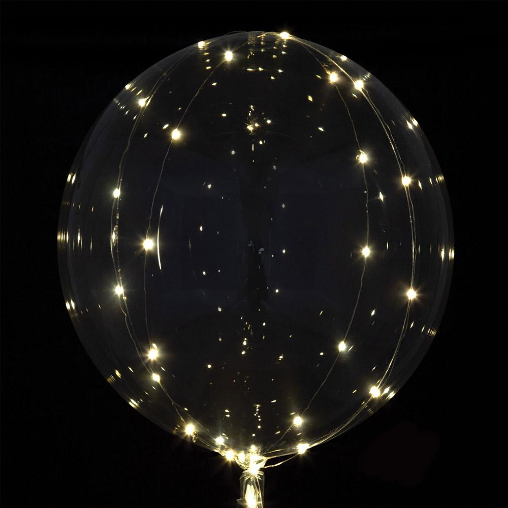 Jumbo Crystal Clear LED Balloon White