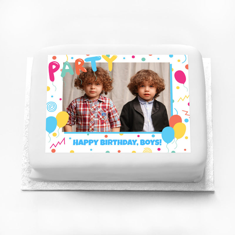 Personalised Photo Cake - Balloons & Confetti Kids Birthday