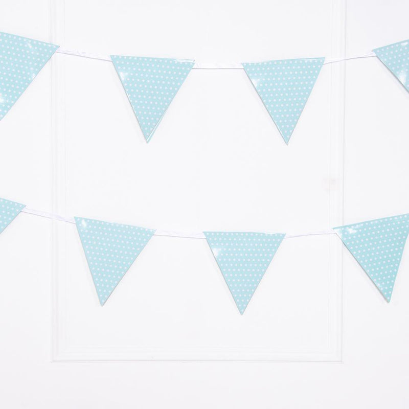 Spotty Paper Party Flag Bunting Pale Blue