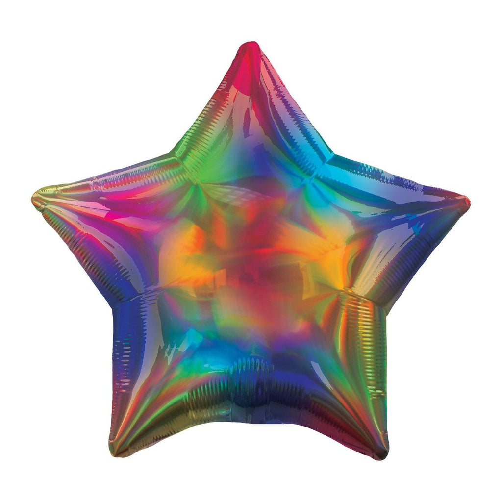 Star Foil Balloon - Rainbow Iridescent