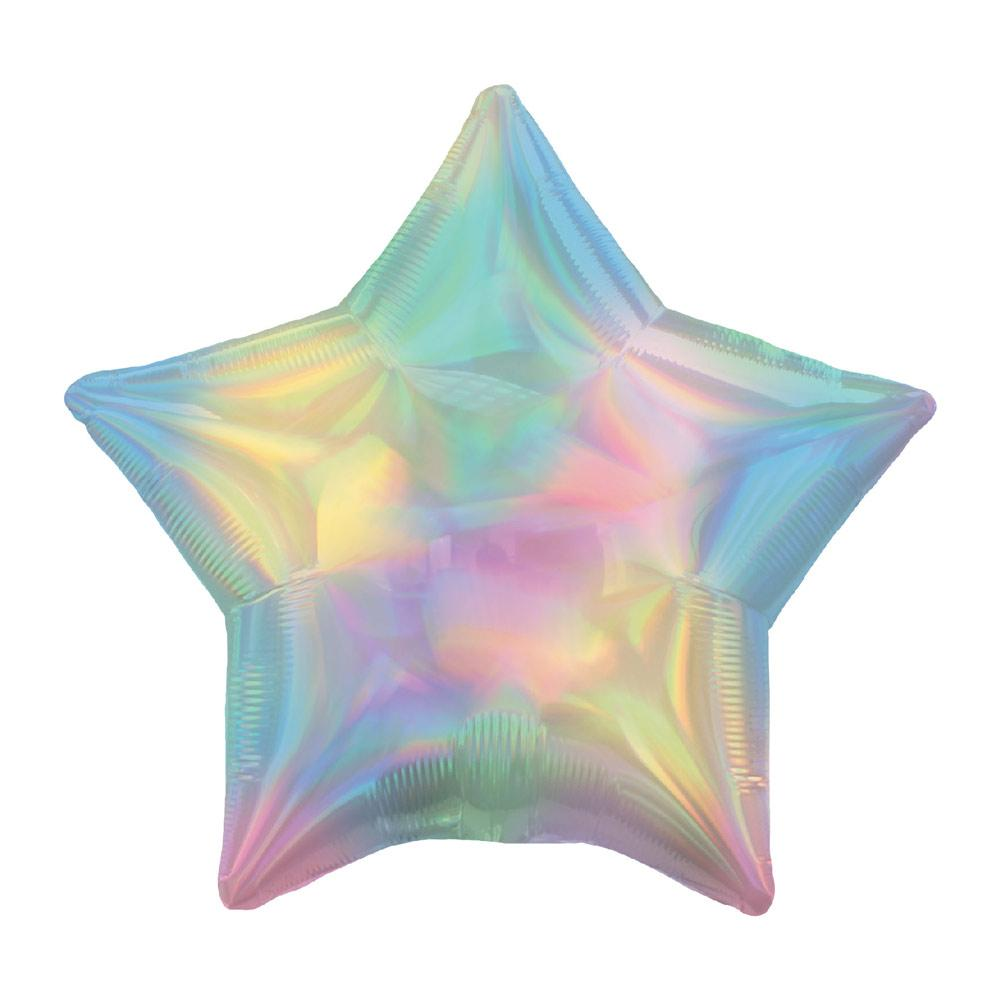 Star Foil Balloon - Iridescent Pastel Rainbow