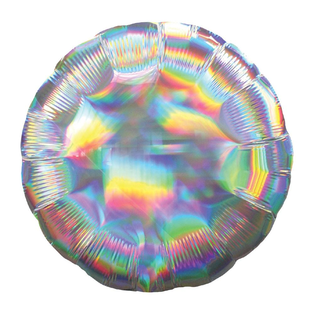 Circle Foil Balloon - Iridescent Silver