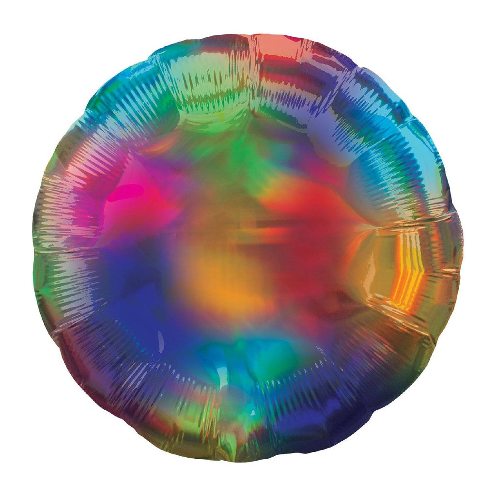 Circle Foil Balloon - Iridescent Rainbow