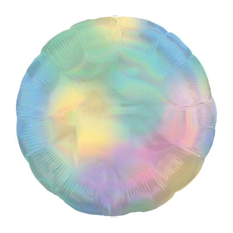 Circle Foil Balloon - Iridescent Pastel Rainbow