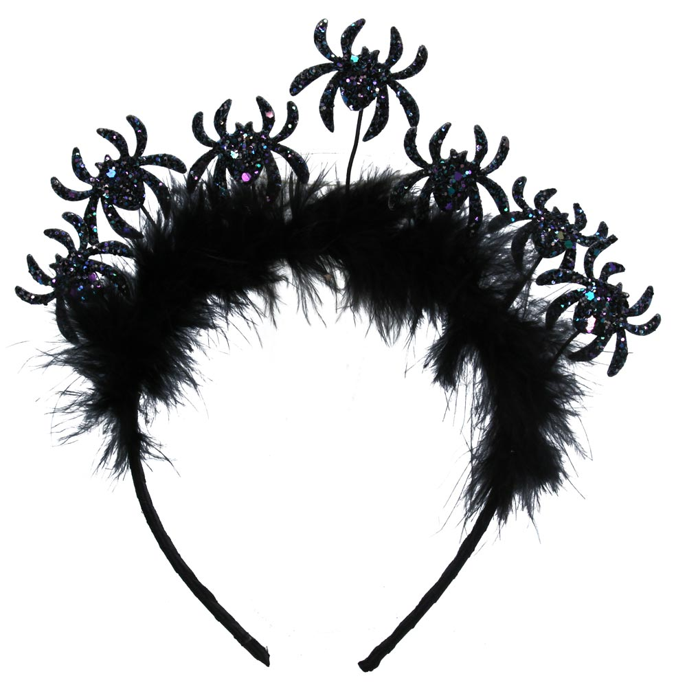 Glitter Spiders and Feather Headband (Adult Size)