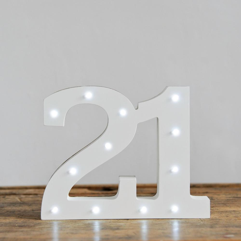 21st Birthday LED Lights White