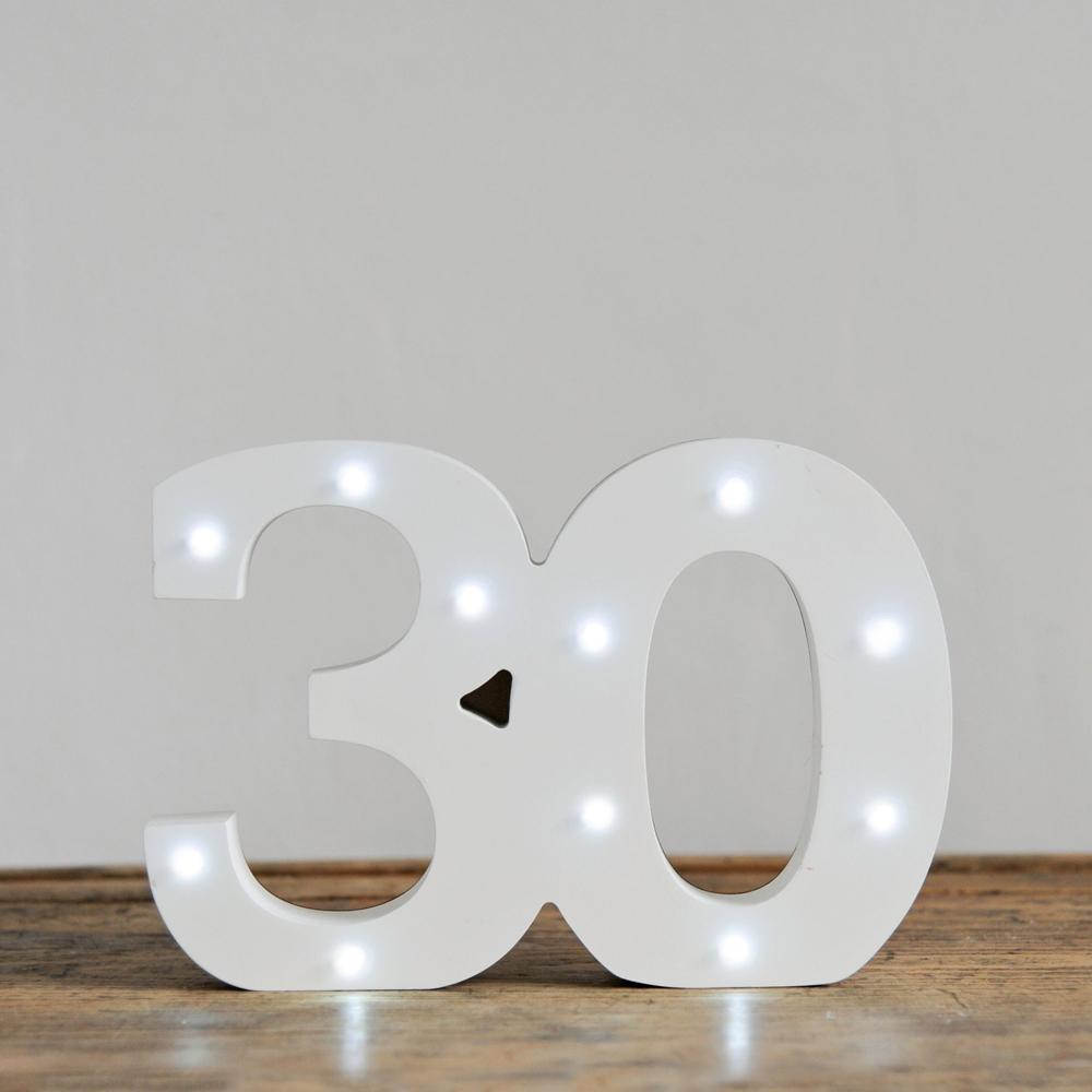 30th Birthday LED Lights White