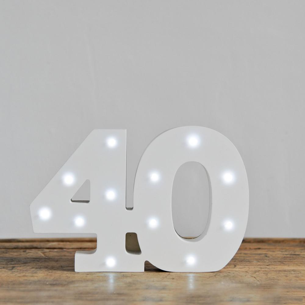 40th Birthday LED Lights White