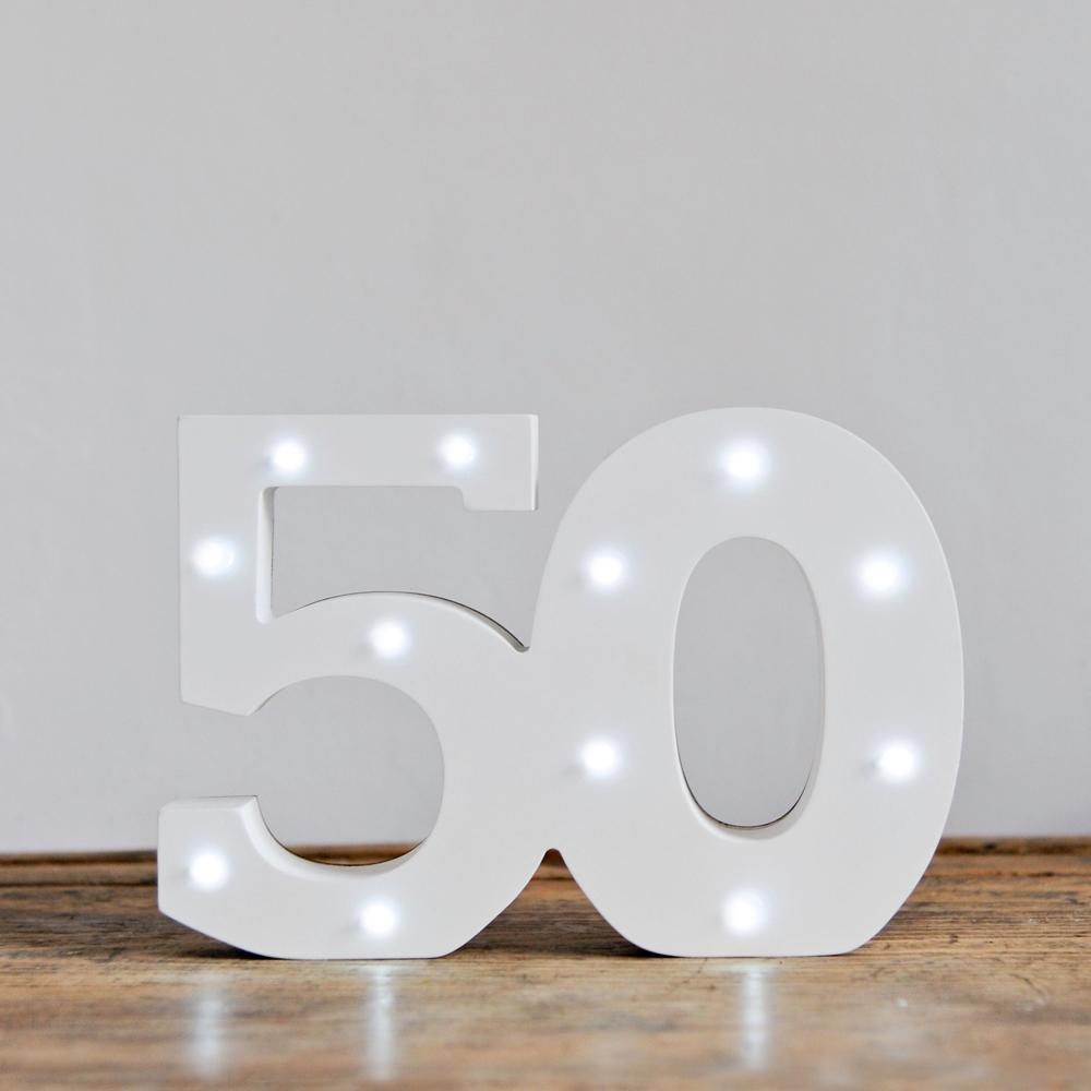 50th Birthday LED Lights White