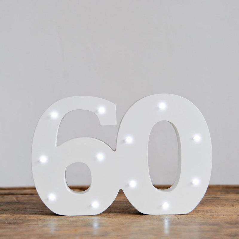 60th Birthday LED Lights White