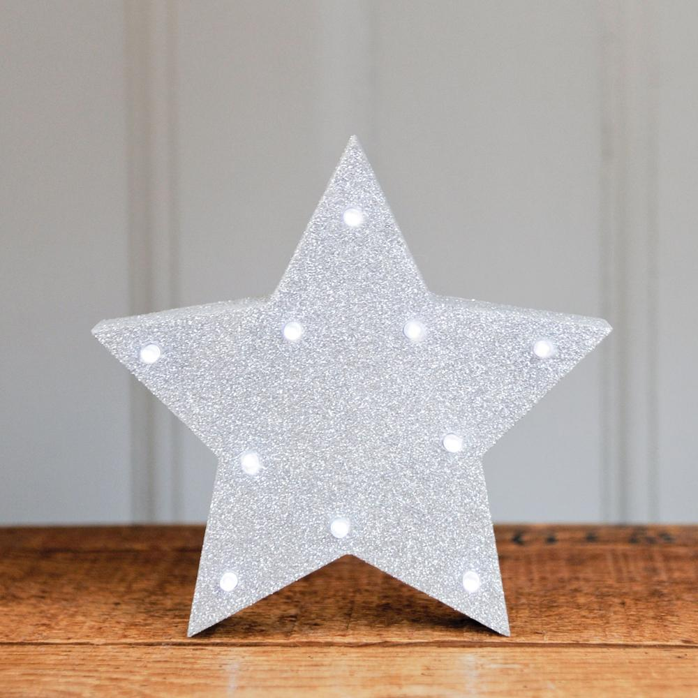 Glitter Star LED Light Silver