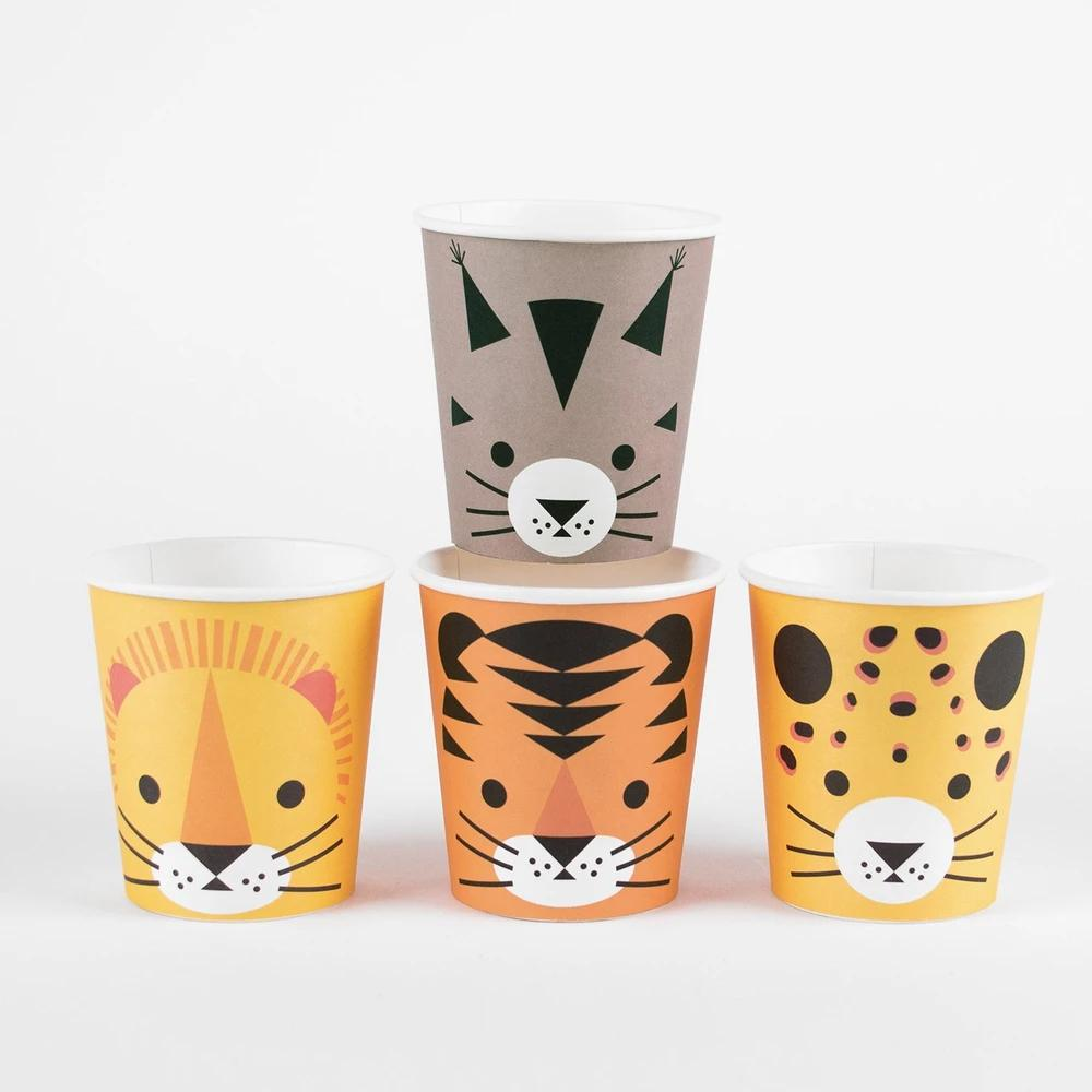 Mini Jungle Cats Paper Party Cups (x8)