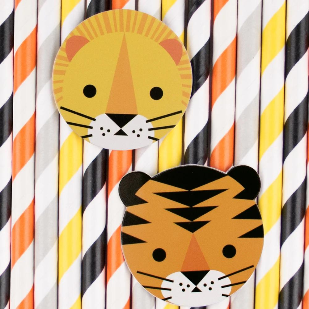 Click to view product details and reviews for Mini Jungle Cats Paper Party Straws X12.