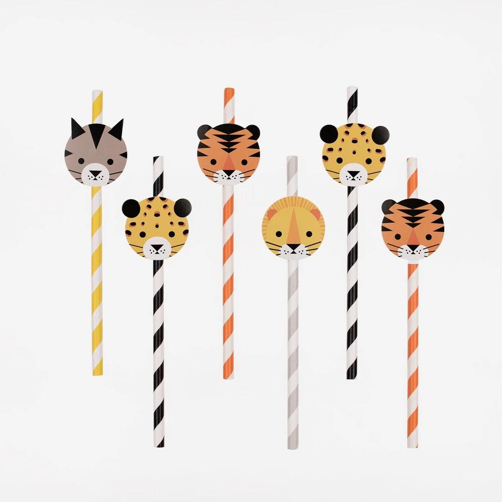 Mini Jungle Cats Paper Party Straws (x12)