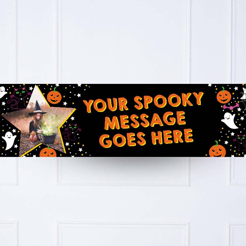 Cat & Pumpkin Personalised Party Banner