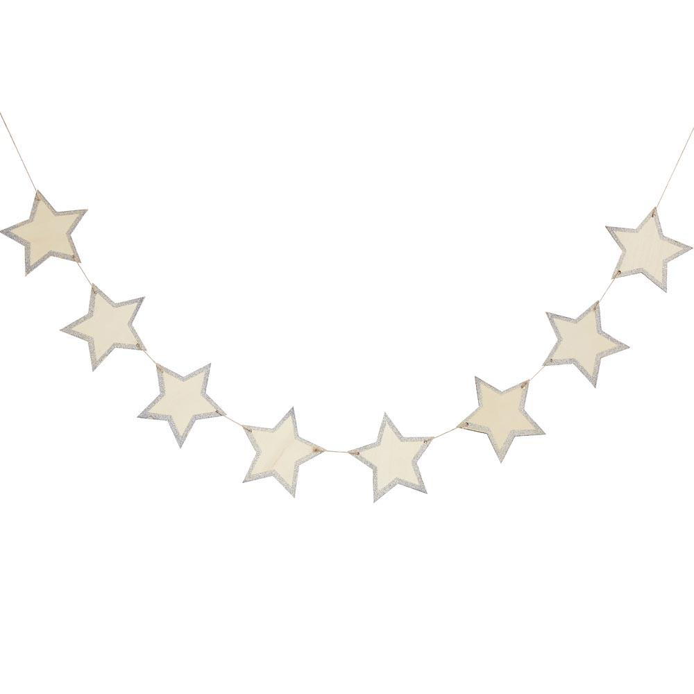 Wooden Star Glitter Bunting (1.5m)