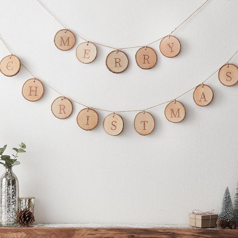 Merry Christmas Wooden Rustic Bunting