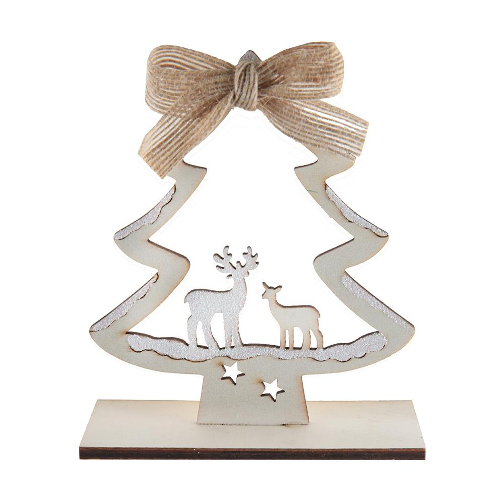 Wooden Rustic Christmas Tree & Deer Table Decoration