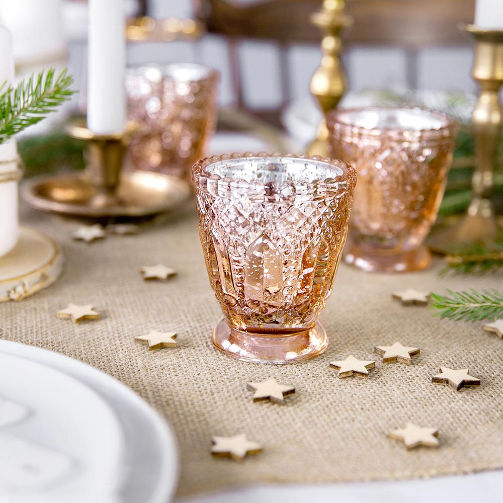 Embossed Tealight Holder Rose Gold (x4)