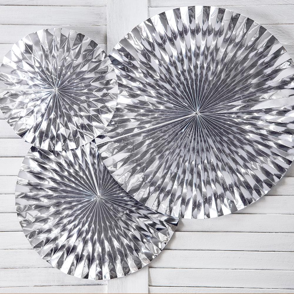 Decorative Rosettes Silver (x3)