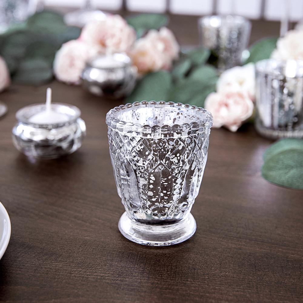 8cm Silver Tealight Holders (x4)