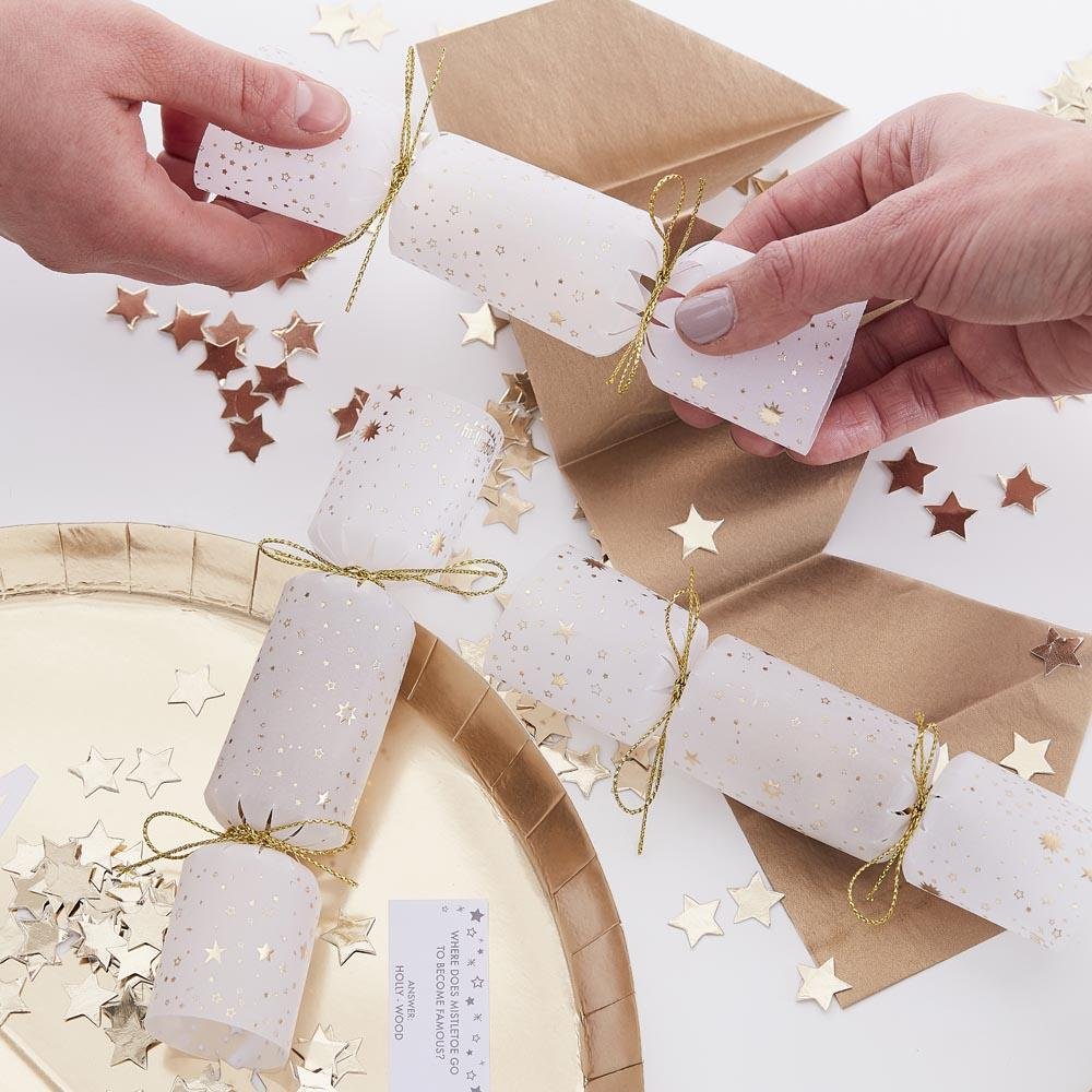 Gold Glitter Confetti Filled Christmas Crackers (x6)