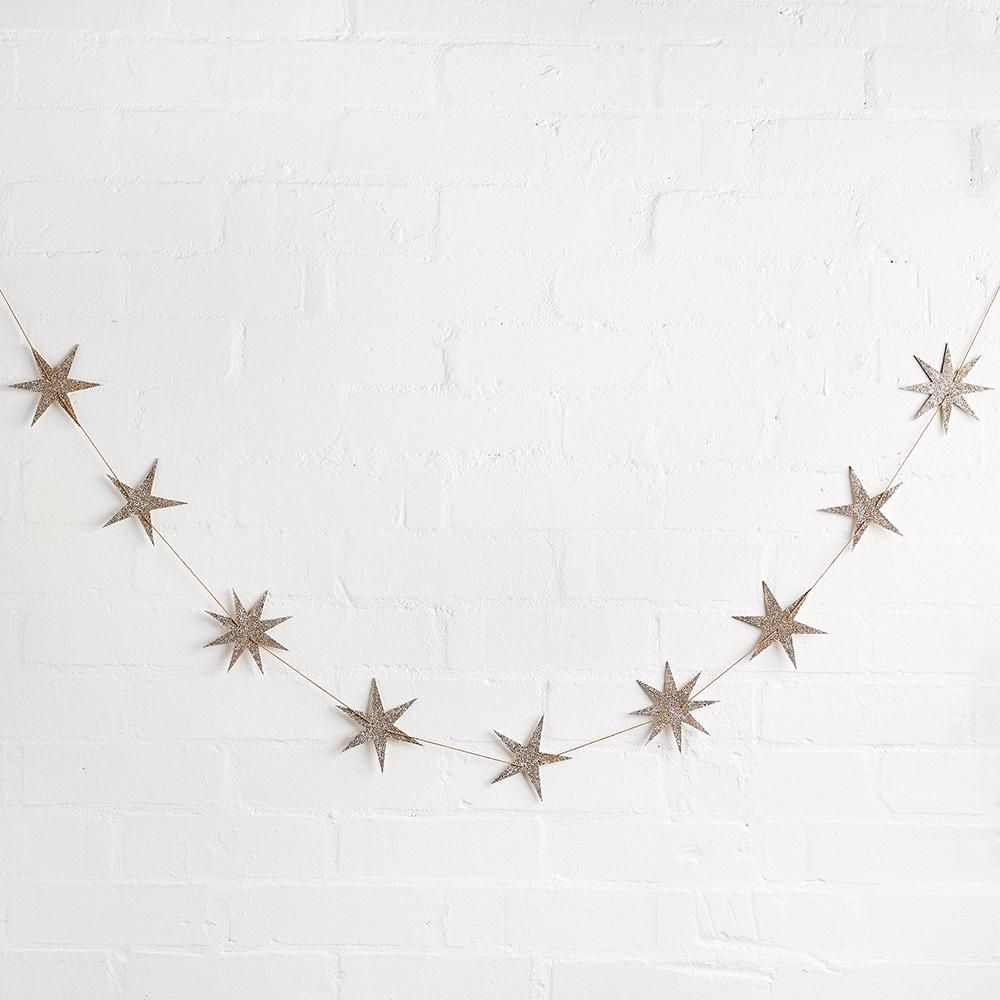 Wooden Gold Star Garland (2m)