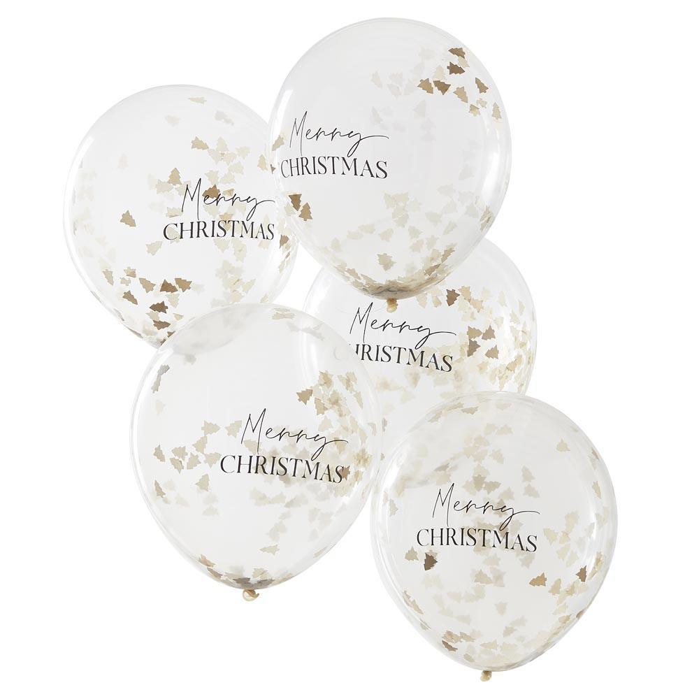 Merry Christmas Tree Confetti Latex Balloons (x5)