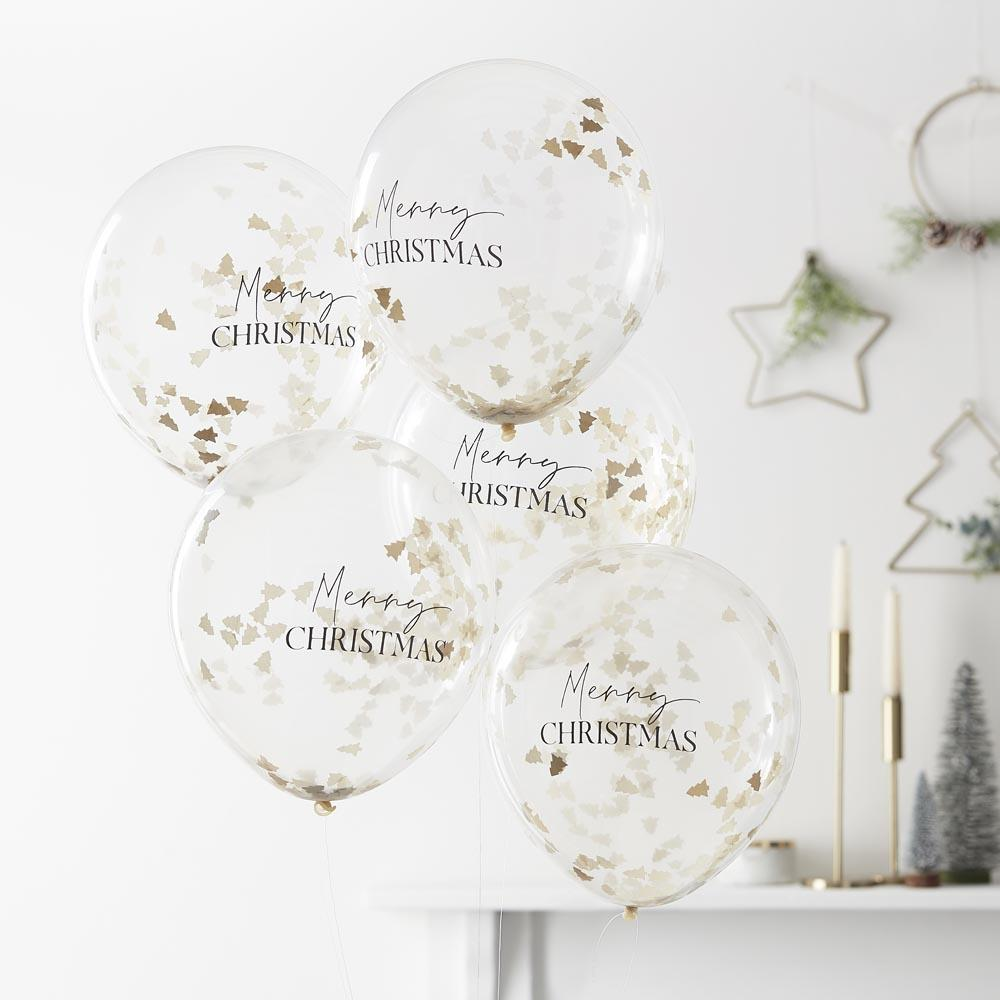 Merry Christmas Tree Confetti Latex Balloons