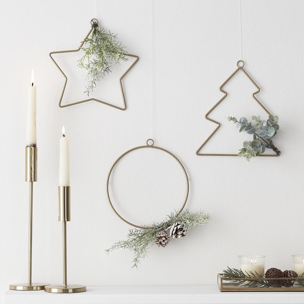 Hanging Christmas Hoop Decorations with Foliage (x3)