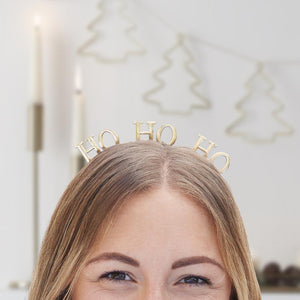 Ho Ho Ho Gold Christmas Headband