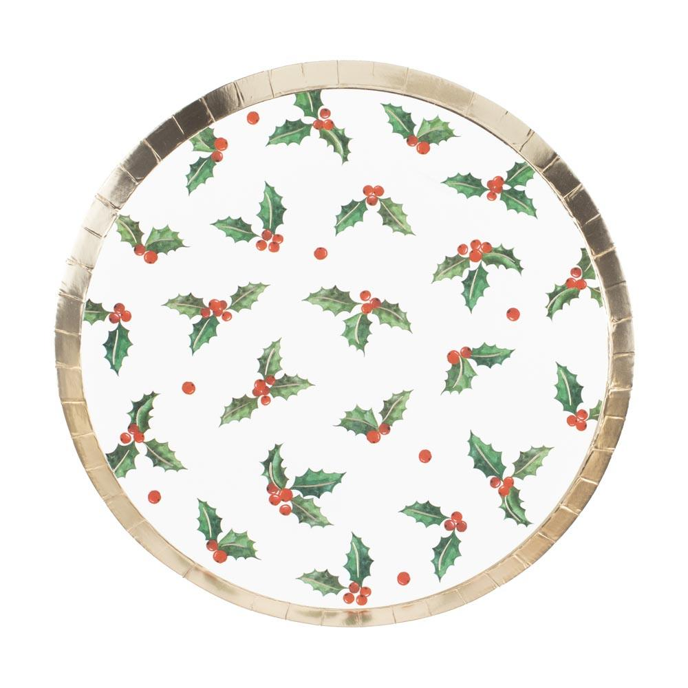 Christmas Holly Leaf Paper Party Plates (x8)