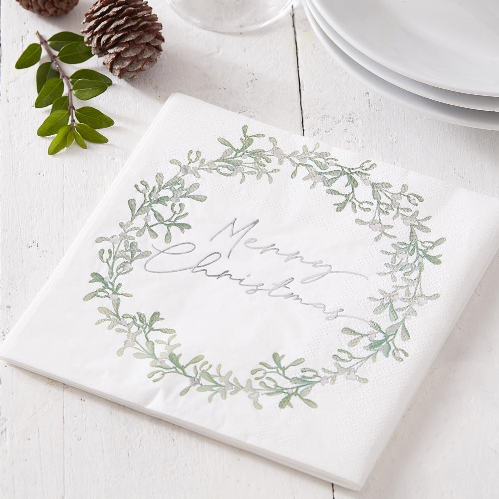 Merry Christmas Mistletoe Wreath Paper Party Napkins (x16)