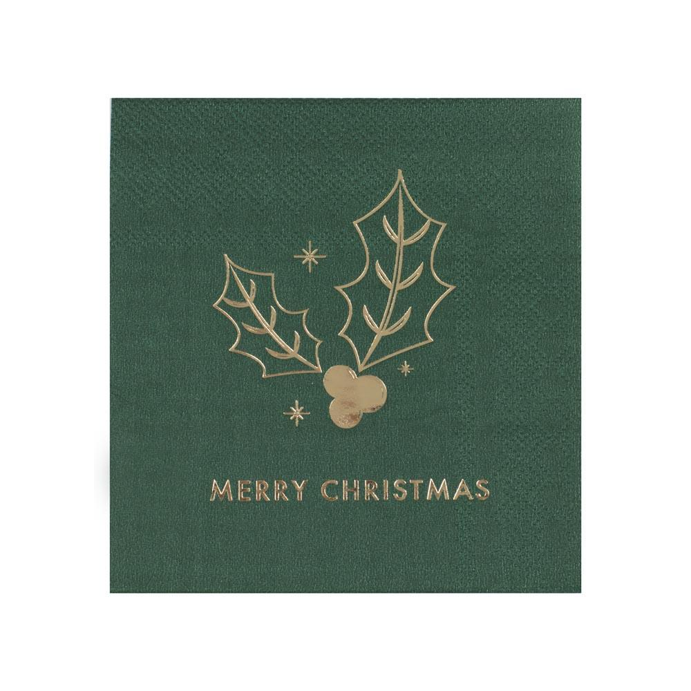 Green Merry Christmas Napkins (x16)