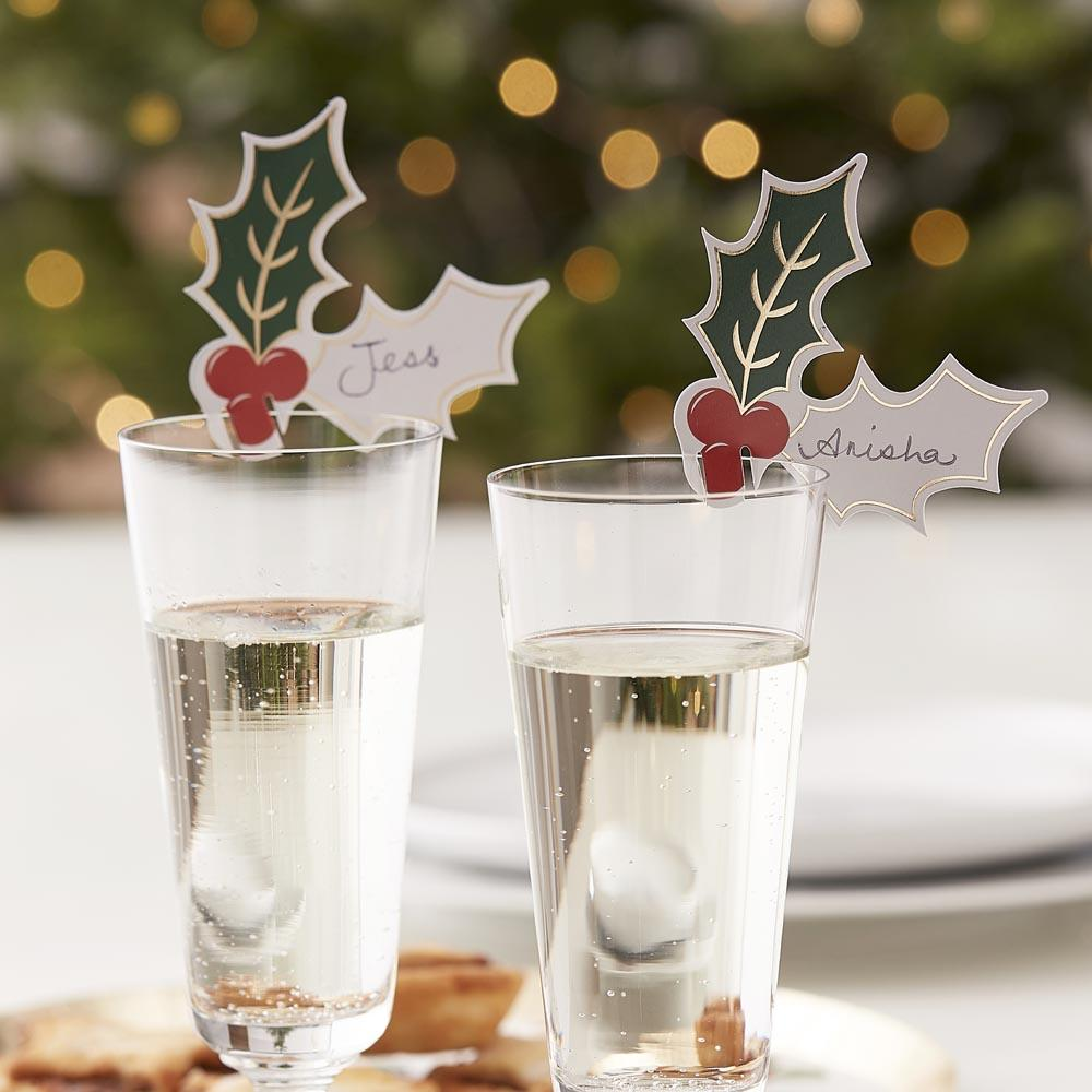 Christmas Party Holly Drinks Markers (x12)