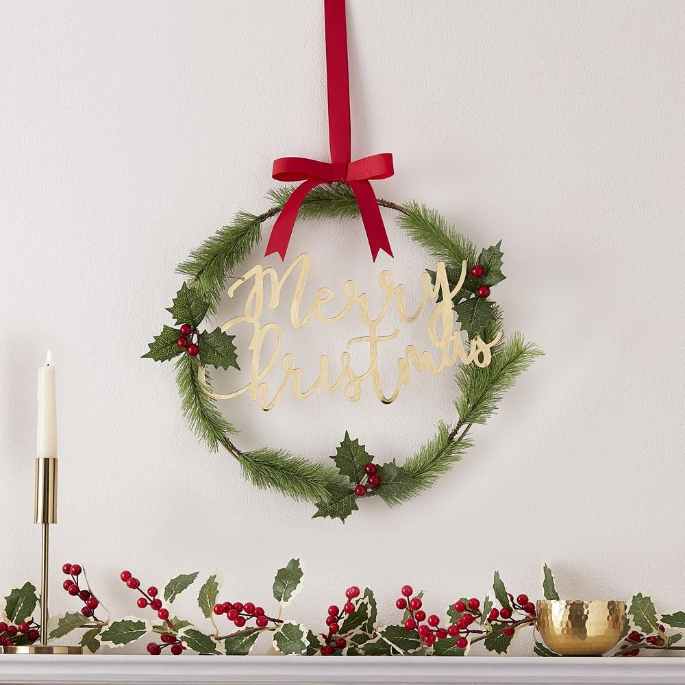 Foliage Merry Christmas Acrylic Wreath